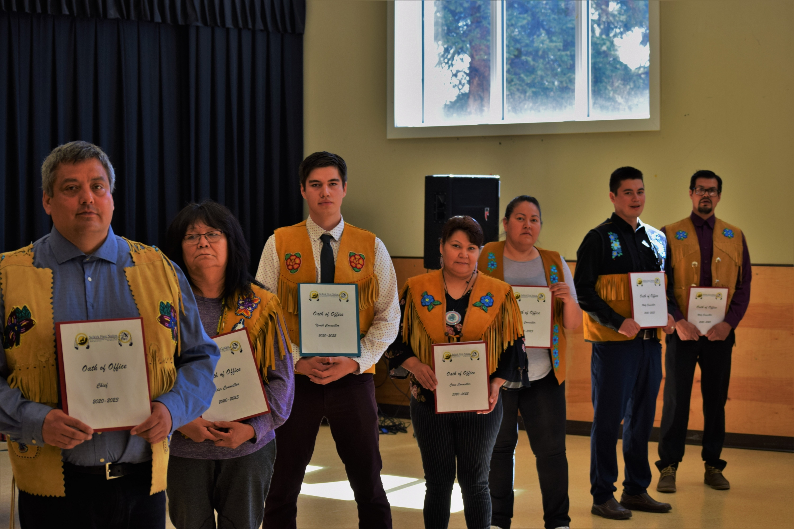 From Left to right: Chief Sharon Nelson, Wolf Councillor, George McGinty, Youth Councillor, Morris Morrison, Wolf Councillor, Dean Gill, Elder Councillor, Milly Johnson, Crow Councillor, Nesta Hager, missing Crow Councillor, Teddy Charlie
